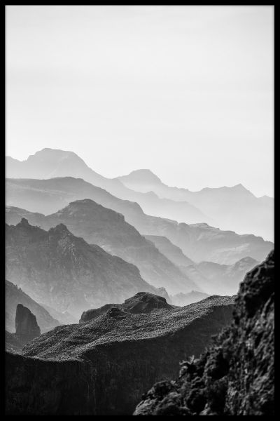 Misty Mountains Black & White Poster
