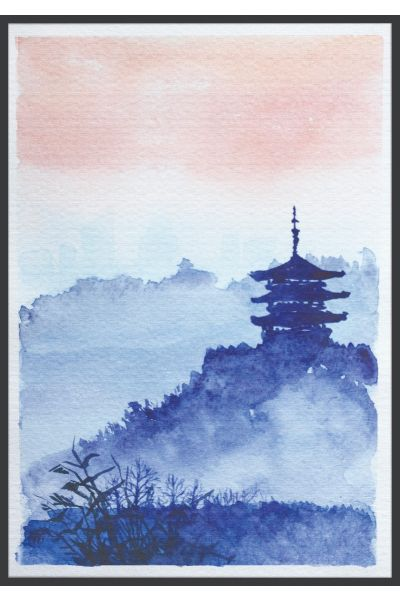 Watercolor Japanese Temple Forest Poster