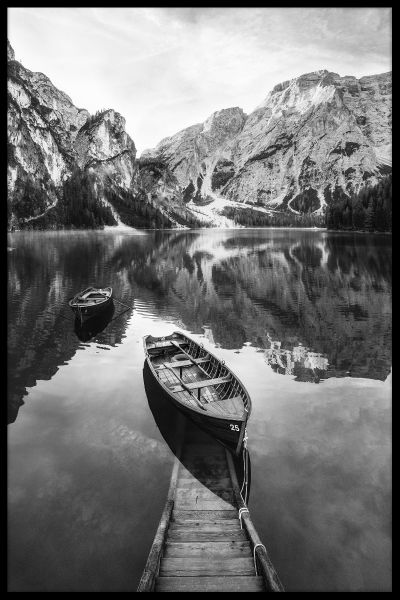 Wooden Boat in Lake Poster