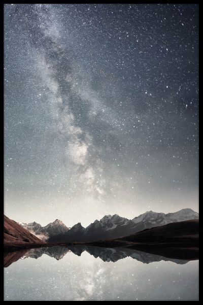 Starry Sky Over Lake Poster