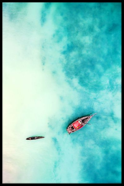 Aerial Tropical Boat Poster