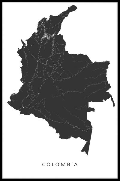 Colombia Kaart Map Poster