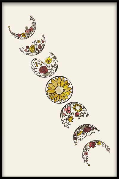 Moon Flower Phases Poster