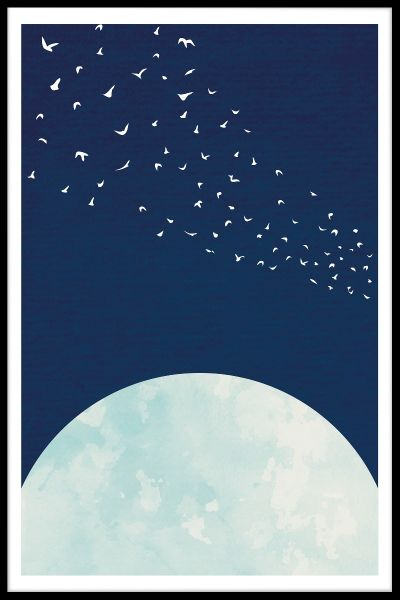 Moon Flock of Birds Poster
